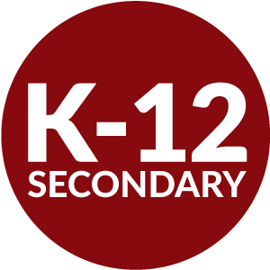 Red circle with K-12 secondary inside