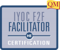 IYOC Face-to-Face Facilitator certification text inside blue square