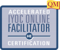 blue box with Accelerated IYOC Online Facilitator Certification in it