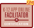 k-12 app online facilitator certification text inside red square