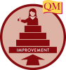 arrow pointing to improvement stairway with female figure giving thumbs up at top